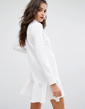 photo Frill Hem Shirt Dress by PrettyLittleThing, color White - Image 2
