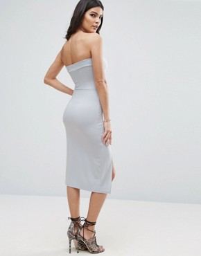 photo Strapless Midi Bodycon with Curved Splits by ASOS, color Blue - Image 2