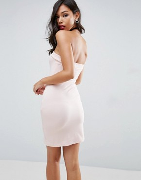 photo Strapless Mini Bodycon with Curved Splits by ASOS, color Nude - Image 2