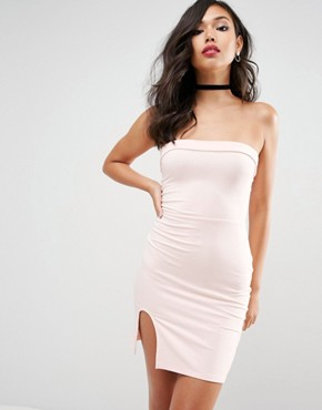 photo Strapless Mini Bodycon with Curved Splits by ASOS, color Nude - Image 1