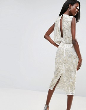 photo Pearl Double Layer Midi Dress by ASOS RED CARPET, color Ivory - Image 2