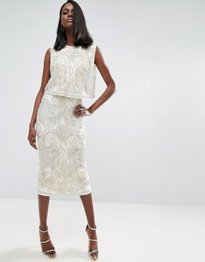 photo Pearl Double Layer Midi Dress by ASOS RED CARPET, color Ivory - Image 1