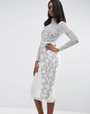 photo Pearl Embellished Ergonomic Knicker Bodycon Dress by ASOS RED CARPET, color Grey - Image 1