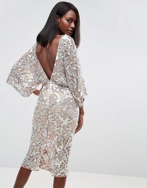 photo Embellished Kimono Midi Dress by ASOS RED CARPET, color Nude/Silver - Image 2