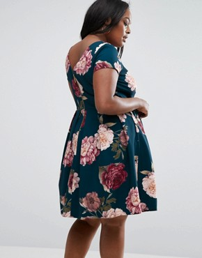 photo Floral Printed Scuba Midi Dress by Closet London Plus, color Navy Multi - Image 2