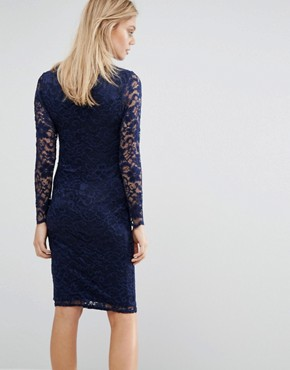 photo Lace Bodycon Dress by Queen Bee, color Navy - Image 2