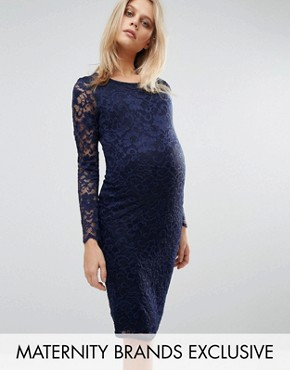 photo Lace Bodycon Dress by Queen Bee, color Navy - Image 1