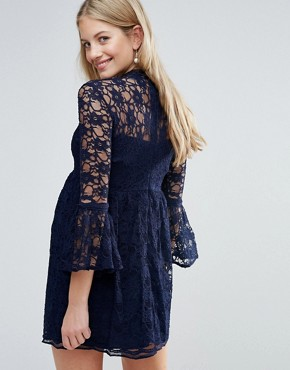 photo Tiered Lace Skater Dress with Fluted Sleeve by Queen Bee, color Navy - Image 2