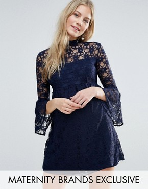 photo Tiered Lace Skater Dress with Fluted Sleeve by Queen Bee, color Navy - Image 1