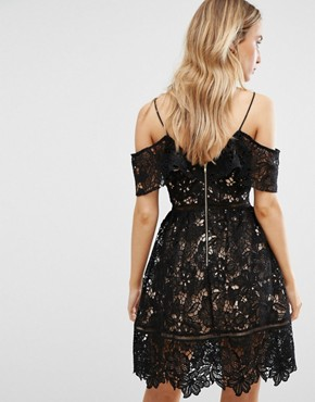 photo Cutwork Lace Cold Shoulder Dress by New Look Premium, color Black - Image 2
