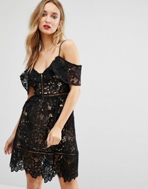 photo Cutwork Lace Cold Shoulder Dress by New Look Premium, color Black - Image 1