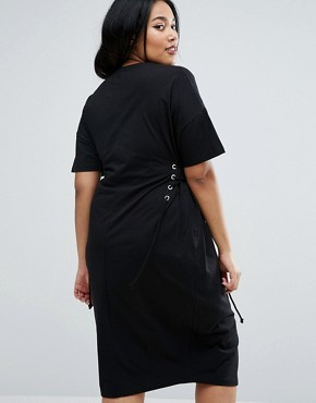 photo Midi T-Shirt Dress with Corset Detail by ASOS CURVE, color Black - Image 2
