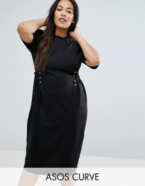 photo Midi T-Shirt Dress with Corset Detail by ASOS CURVE, color Black - Image 1