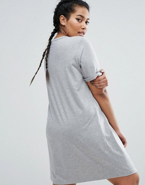 photo Lace Up Front T-Shirt Dress by ASOS CURVE, color Grey - Image 2