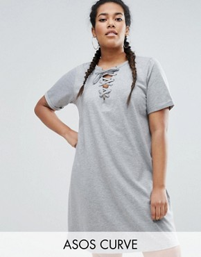 photo Lace Up Front T-Shirt Dress by ASOS CURVE, color Grey - Image 1