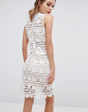 photo Cutwork Lace High Neck Dress by New Look Premium, color White Pattern - Image 2