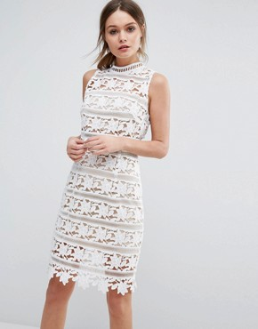 photo Cutwork Lace High Neck Dress by New Look Premium, color White Pattern - Image 1