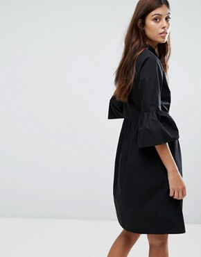 photo Flute Sleeve Shirt Dress by New Look, color Black - Image 2