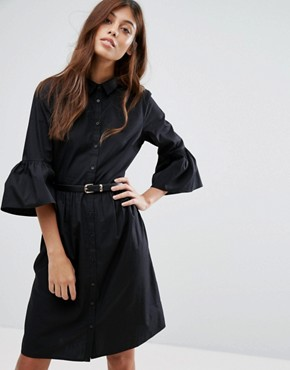 photo Flute Sleeve Shirt Dress by New Look, color Black - Image 1