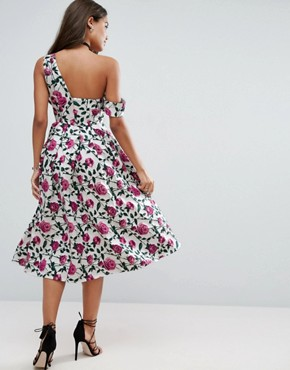photo Asymmetric Bardot Rose Jacquard Floral Prom Midi Dress by ASOS, color  - Image 2