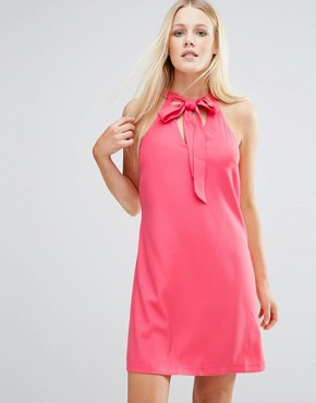 photo Tunic Dress With Keyhole Detail by Girls on Film, color Coral - Image 1