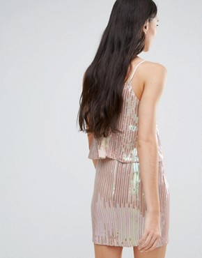 photo Plisse Metallic Dress with Overlay by Endless Rose, color Pink - Image 2