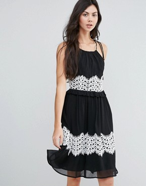 photo Midi Dress with Contrast Lace Detail by Endless Rose, color Black - Image 1