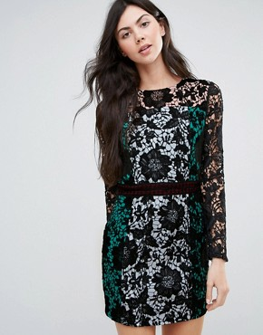 photo Colourblock Long Sleeve Lace Dress by Endless Rose, color Black - Image 1
