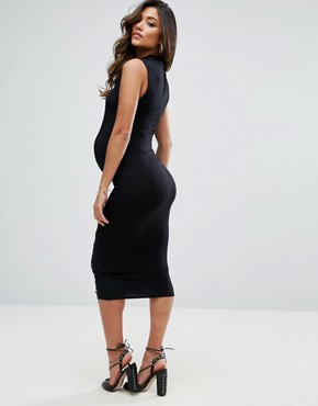 photo Bodycon Dress with Lace up Detail by ASOS Maternity, color Black - Image 2