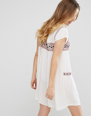 photo Short Sleeve Dress With Embroidery by Brave Soul, color Cream - Image 2