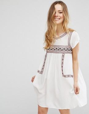 photo Short Sleeve Dress With Embroidery by Brave Soul, color Cream - Image 1