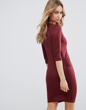 photo Jersey Bodycon Dress by Daisy Street, color Burgundy - Image 2