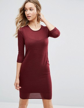 photo Jersey Bodycon Dress by Daisy Street, color Burgundy - Image 1