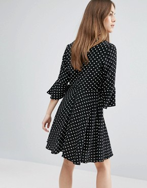 photo Polka Dot Fluted Sleeve Dress by New Look Petite, color Black - Image 2