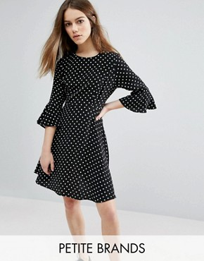 photo Polka Dot Fluted Sleeve Dress by New Look Petite, color Black - Image 1