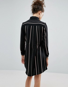 photo Contrast Stripe Shirt Dress by New Look Petite, color Black - Image 2