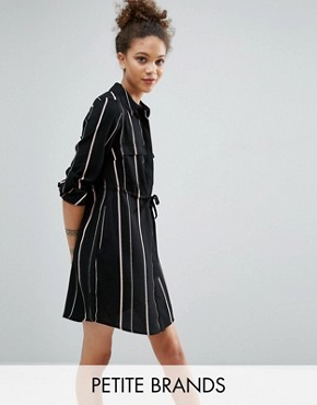 photo Contrast Stripe Shirt Dress by New Look Petite, color Black - Image 1