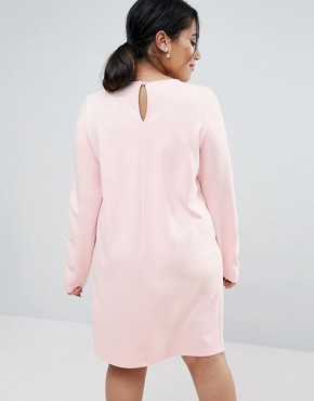 photo Shift Dress in Ponte with Long Sleeve by ASOS CURVE, color Nude - Image 2
