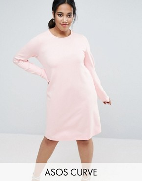 photo Shift Dress in Ponte with Long Sleeve by ASOS CURVE, color Nude - Image 1