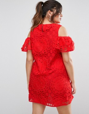 photo Off Shoulder Lace Dress by ASOS CURVE, color Red - Image 2