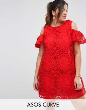 photo Off Shoulder Lace Dress by ASOS CURVE, color Red - Image 1