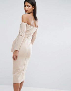 photo Bardot Tie Front Midi Dress by Lavish Alice, color Sand - Image 2