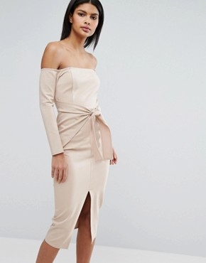 photo Bardot Tie Front Midi Dress by Lavish Alice, color Sand - Image 1