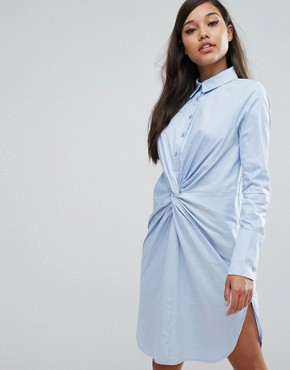 photo Cotton Twist Front Shirt Dress by Lavish Alice, color Blue - Image 1