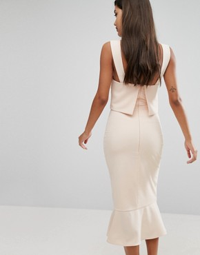 photo Choker Detail Flounce Hem Midi Dress by Lavish Alice, color Light Nude - Image 2