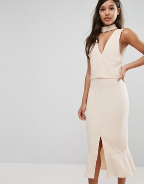 photo Choker Detail Flounce Hem Midi Dress by Lavish Alice, color Light Nude - Image 1