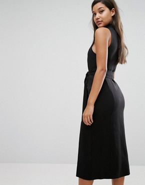 photo Keyhole Tie Belt Double Split Midi Dress by Lavish Alice, color Black - Image 2