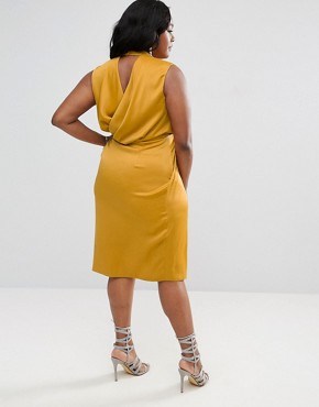 photo Choker Neck Detail Drape Front Midi Dress by ASOS CURVE, color Mustard - Image 2