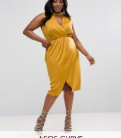 photo Choker Neck Detail Drape Front Midi Dress by ASOS CURVE, color Mustard - Image 1