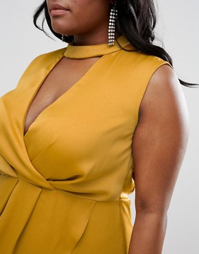 photo Choker Neck Detail Drape Front Midi Dress by ASOS CURVE, color Mustard - Image 3